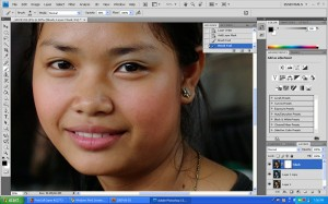 """Create a layer mask and use the """"brush tool"""" to add the eye shadows."""