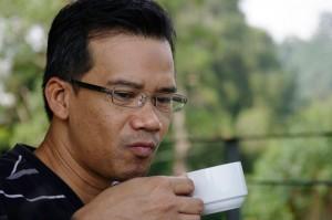 Ubaidah enjoying his cuppa.