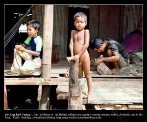 Children in a fishing village