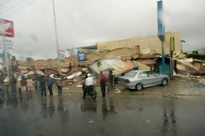 Some of the buildings that had collapsed