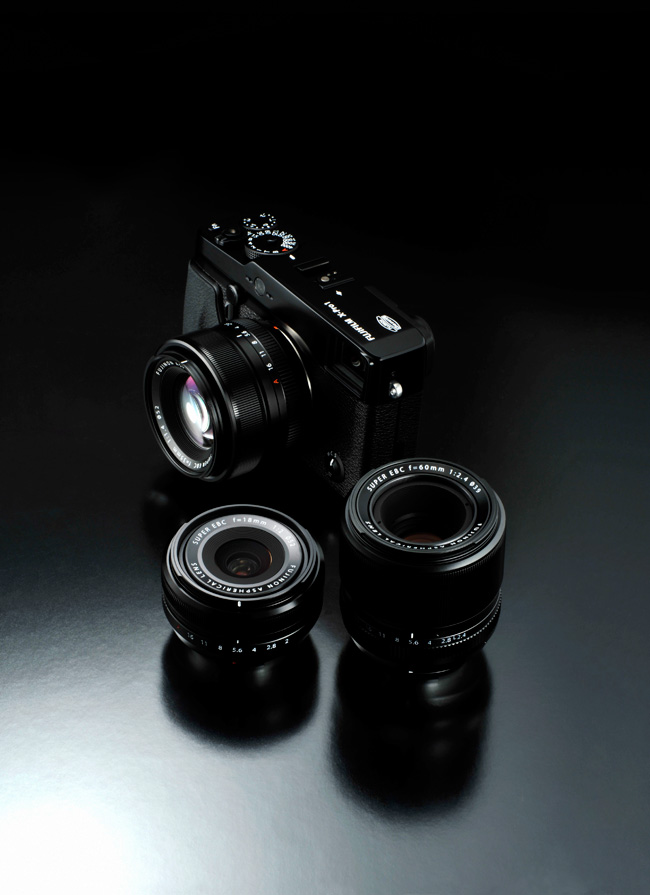 Fuji X-PRO1 with a complete set of 3 lenses