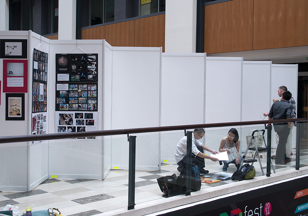 The display boards were erected the night before and the participants began to display their photos