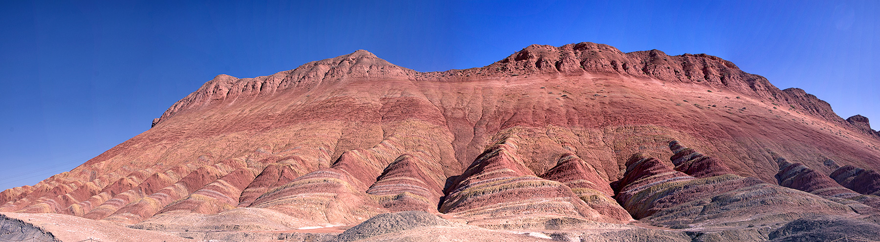 A panoramic view of the  rainbow mountains at station 3