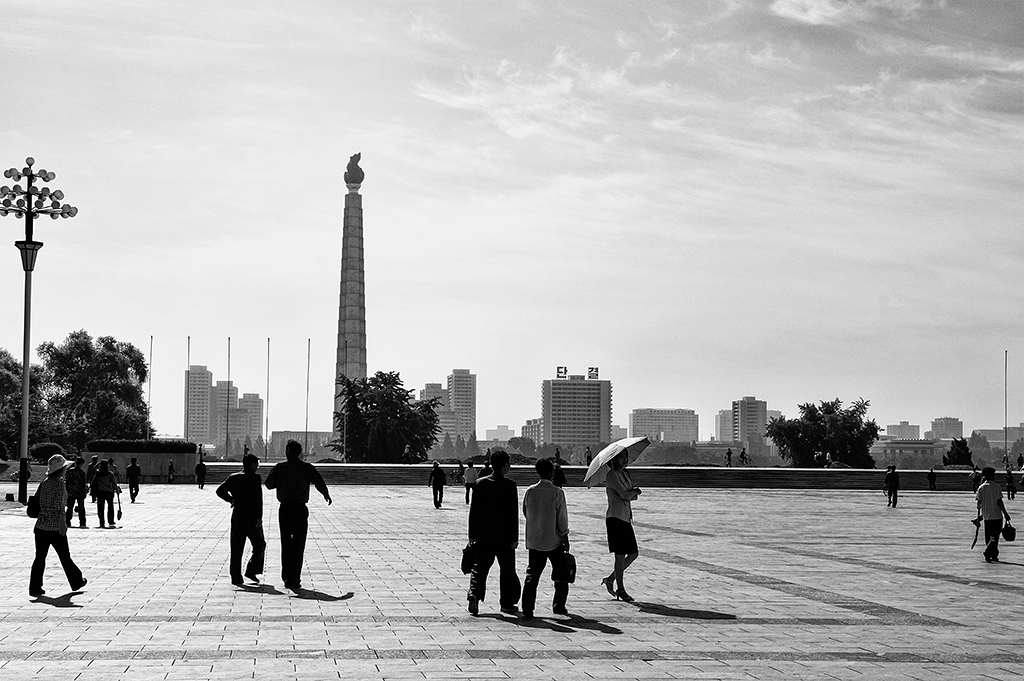 Kim Il-sung Square at the centre of Pyongyang where parades are held.