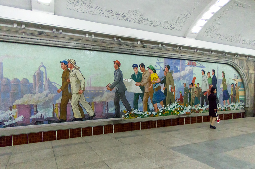 Some of the beautiful mosaic murals decoratig the walls of the station.