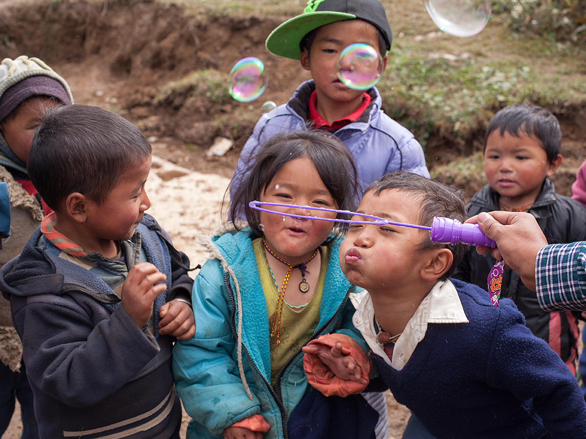 Fun time - Playing soap bubbles with the children.