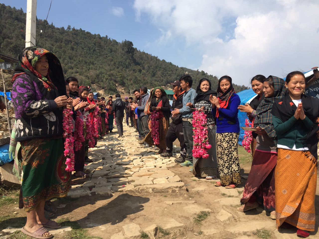 A rousing welcomed by the Laprak villagers.