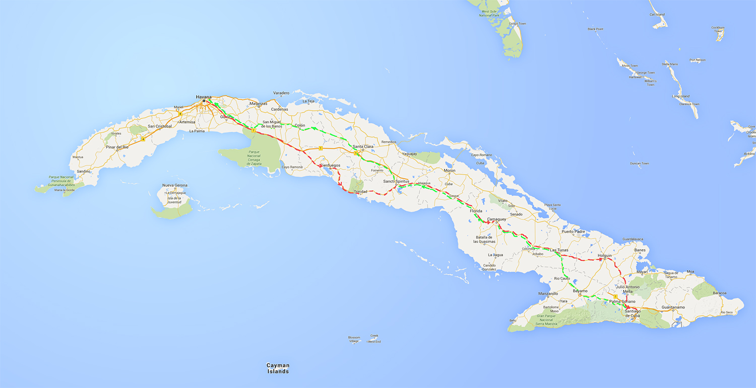 Map of Cuba showing the journey
