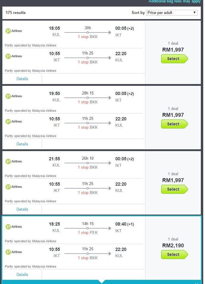 Flight schedules from KL to Irkutsk