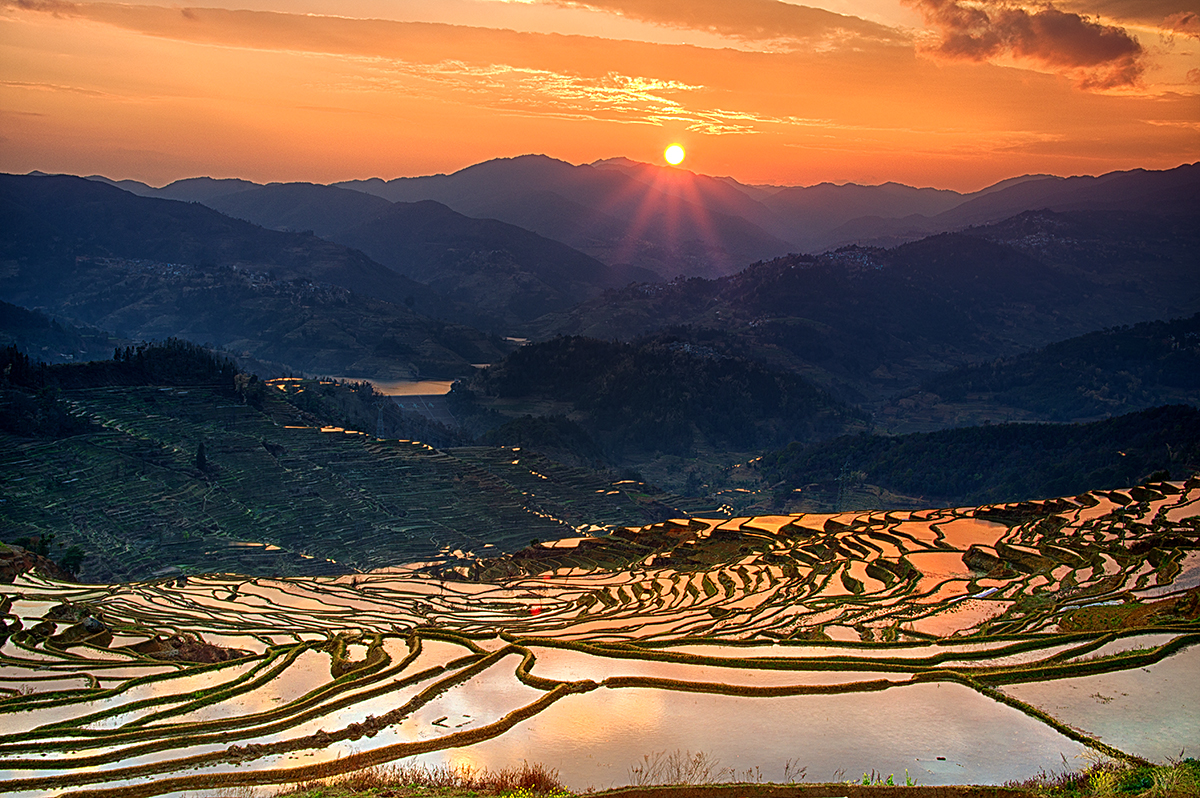 Sunset at Honghe Rice Terraces
