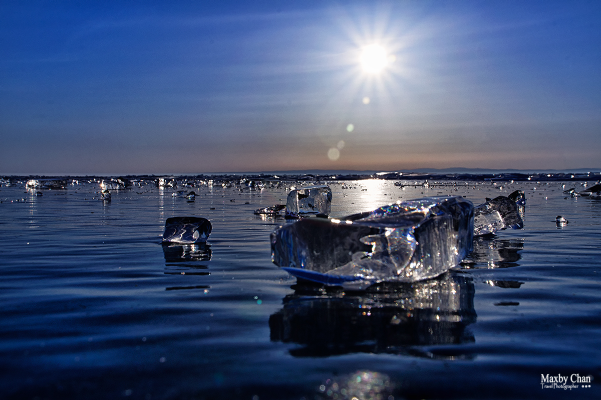 Crystal clear ice on the lake
